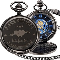 Engraved Loveforever Mechanical Pocket Fob Watch Vintage Steampunk Black Pocket Watches Pendant Necklace Clock With Chain Watch
