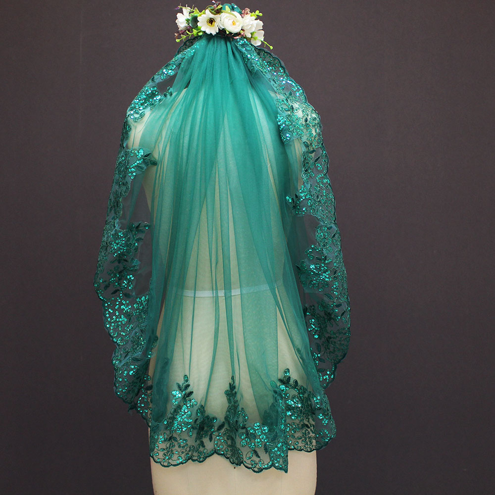 Image 5 - 2019 New 0.9 Meters One Layer Lace Edge Green Tulle Wedding Veil With Comb-in Bridal Veils from Weddings & Events