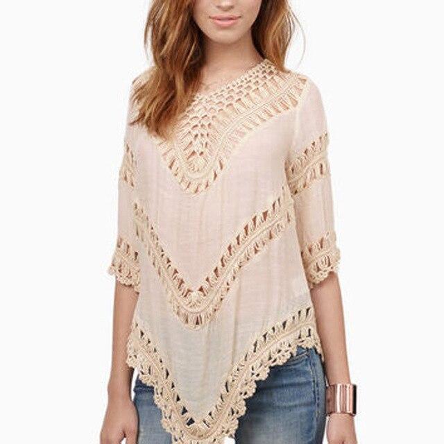 2016 Свободно форме крыла летучей мыши рукав Богемный выдалбливают Крючком бикини cover up вязание пляж платье футболка