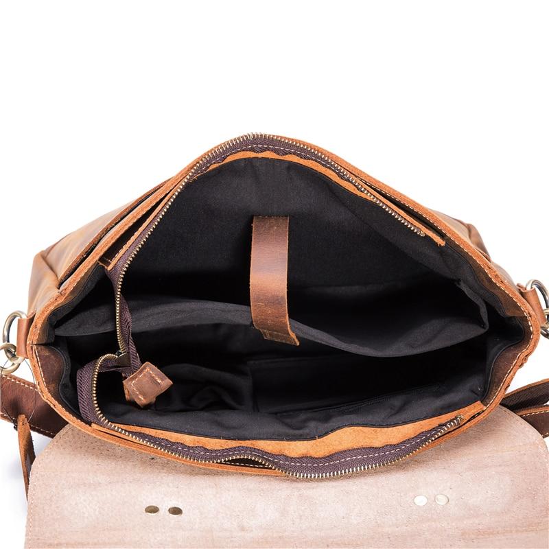 Echt Leer Mannen Aktetas Koeienhuid Retro Mannelijke Toevallige Messenger Bag Handtassen Bolsa Zakelijke Schoudertas Cross Body Tas Voor Man - 6