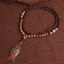 Ethnic Style Wooden Necklace with Fish Shaped Pendant