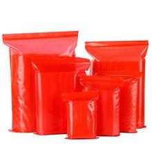Thickened 12 Wires PE Ziplock Bag 100pcs/Lot Red Color Zipper Bags Self Sealing Plastic Food Bags Makeup Ziplock Poly Bags