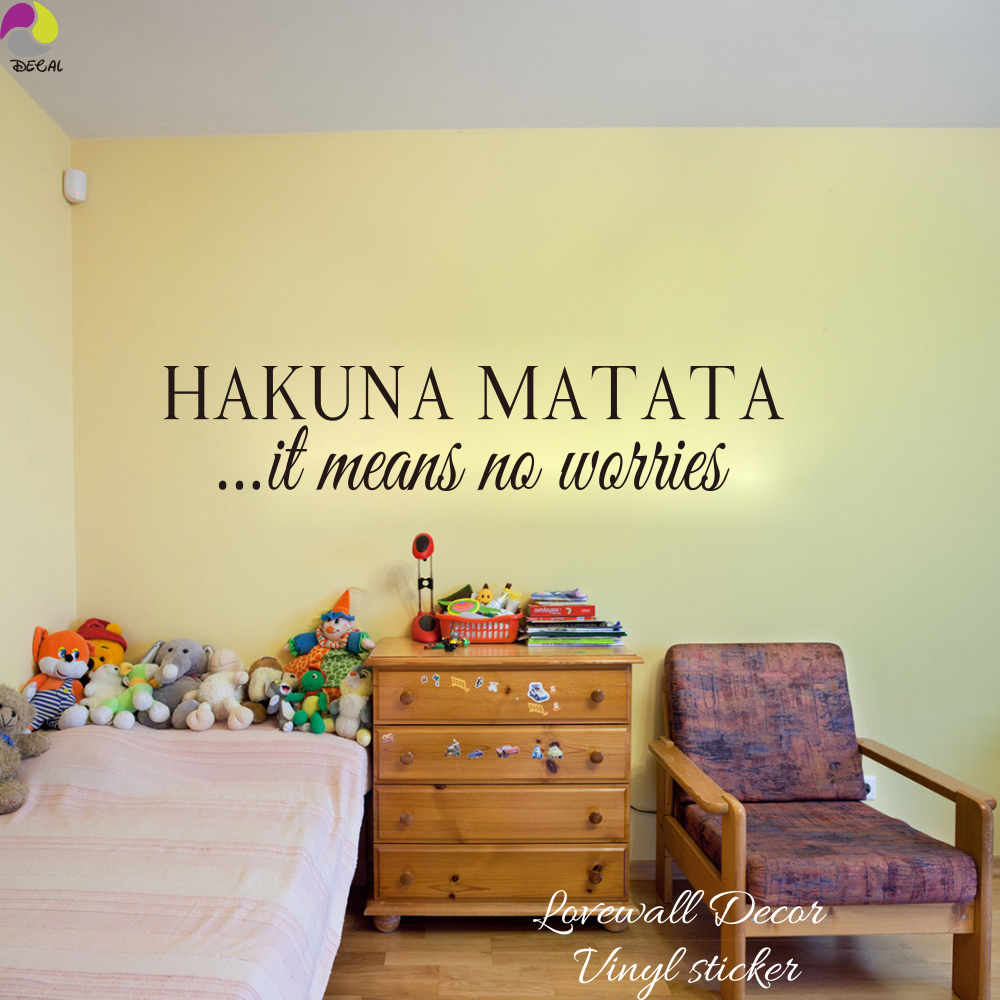Hakuna Matata Means it means no worries Quote Wall Sticker Kids Room ...