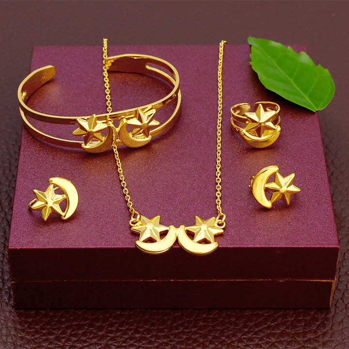 JH New Arrival Lovely Moon Star Ethiopia Baby Jewelry Set Necklace / Earring / Ring / Bangle Eritrea Baby Birthday Gifts
