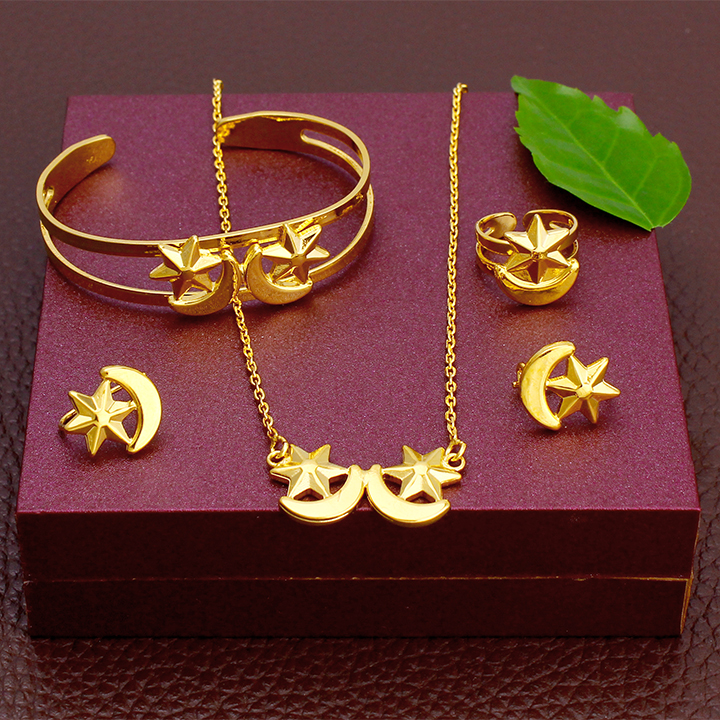 JH 2020 Love Moon Star Ethiopia Baby Kids Jewelry Set Gold Necklace Rings Earrings Sets Cute Birthday Gift Small Size Accessory