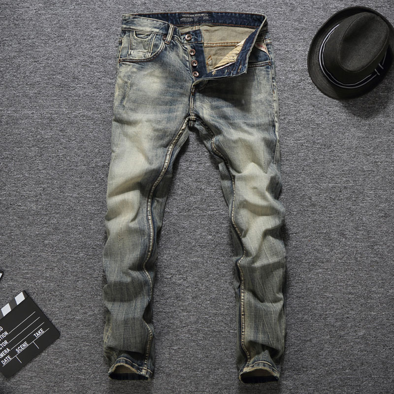 Dropshipping Quality Guaranteed Fashion Mens   Jeans   Slim Fit Denim Buttons Pants Brand Men   Jeans   Vintage Retro Classic   Jeans   Men