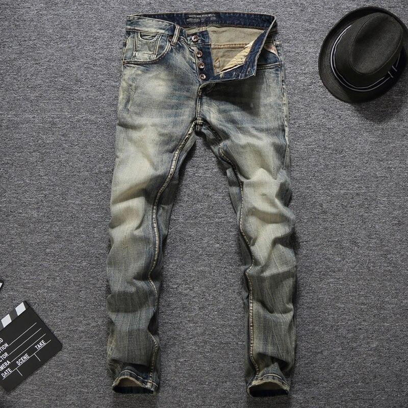 Dropshipping jakość gwarantowana moda męskie dżinsy Slim Fit Denim przyciski spodnie marki jeansy męskie w stylu Vintage Retro klasyczne dżinsy mężczyźni w Dżinsy od Odzież męska na AliExpress - 11.11_Double 11Singles' Day 1