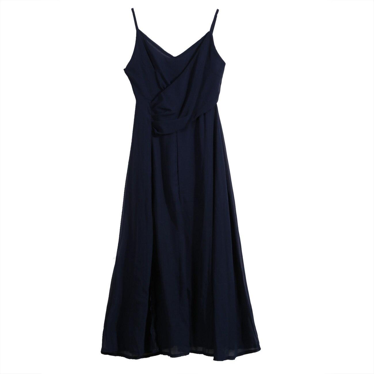 Fashion Women Maxi Boho Solid Summer Beach Long Dress Party V-Neck High Split Dresses