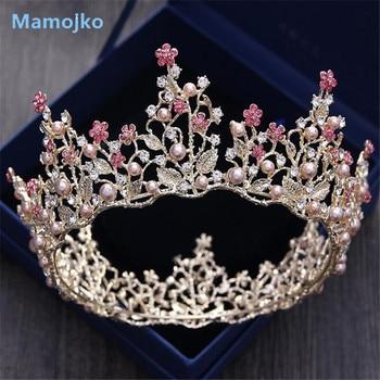 Mamojko Baroque Leaf Imitation Pearl Princess Bridal Crowns Drop Tiaras For Woman Flower Noble Wedding Jewelry Hair Accessories