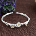 GZ Real 925 Silver Flower Bangle Handmade Pure S925 Thai Sterling Silver Oval Bangles for Women Men Jewelry