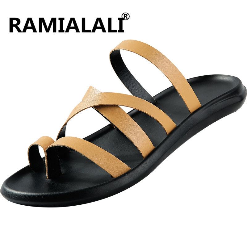 f9b75d8aa4bbae Romain Noir T Chaussures Cuir Bride Sandales Occasionnels Pantoufles sangle  Gladiateur Plage Croix En Tongs marron ...