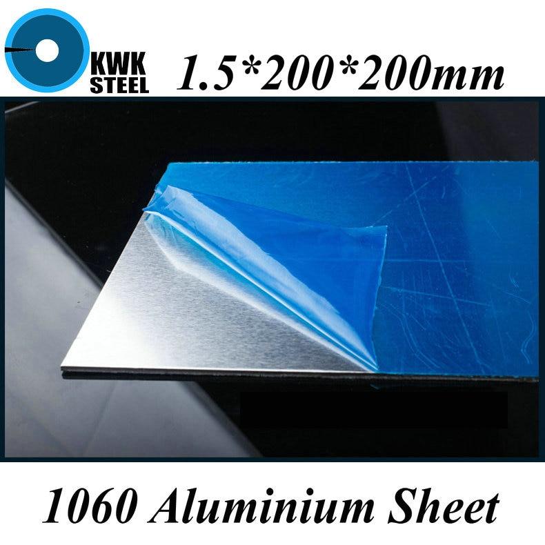 1.5*200*200mm Aluminum 1060 Sheet Pure Aluminium Plate DIY Material Free Shipping
