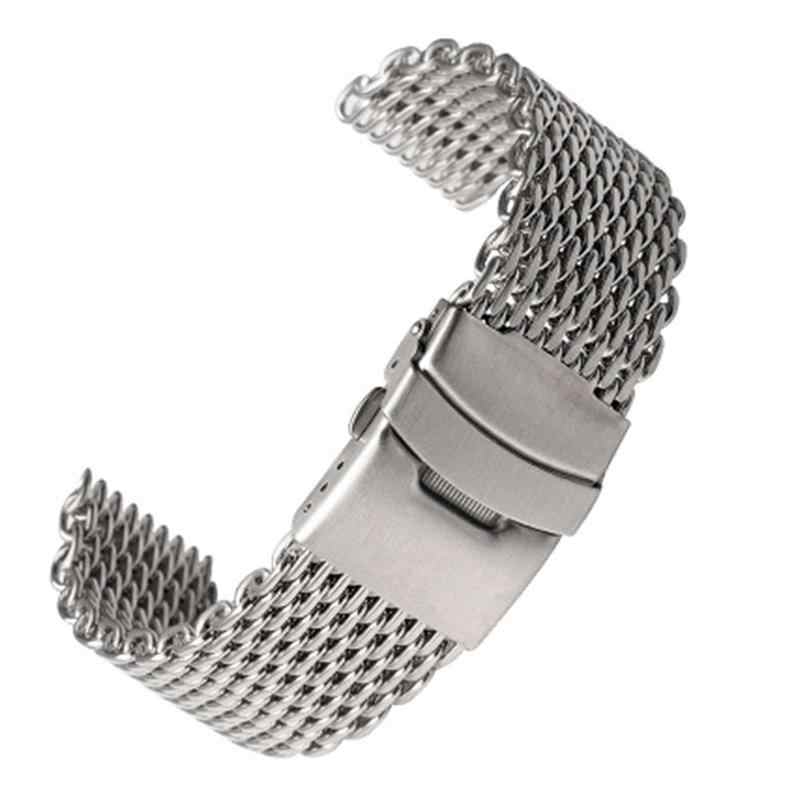Silver 18mm/20mm/22mm/24mm Stainless Steel Milanese Shark Mesh Watch Band Strap Mesh Metal Watchband Bracelet For Watch