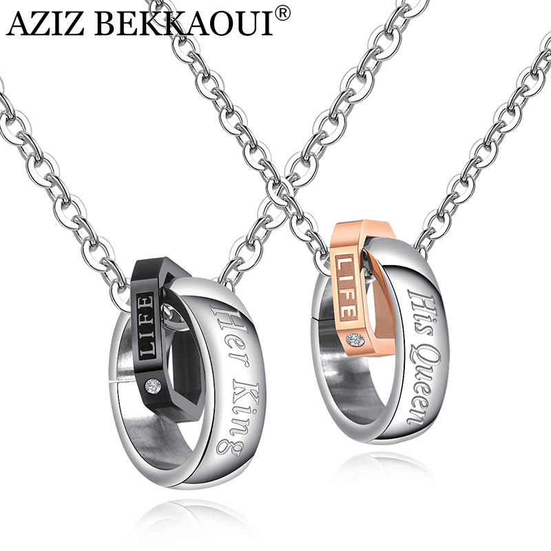 AZIZ BEKKAOUI Her King & His Queen Couple Necklaces Letter LIFE Pendant Stainless Steel Circle Necklace for Lover Dropshipping