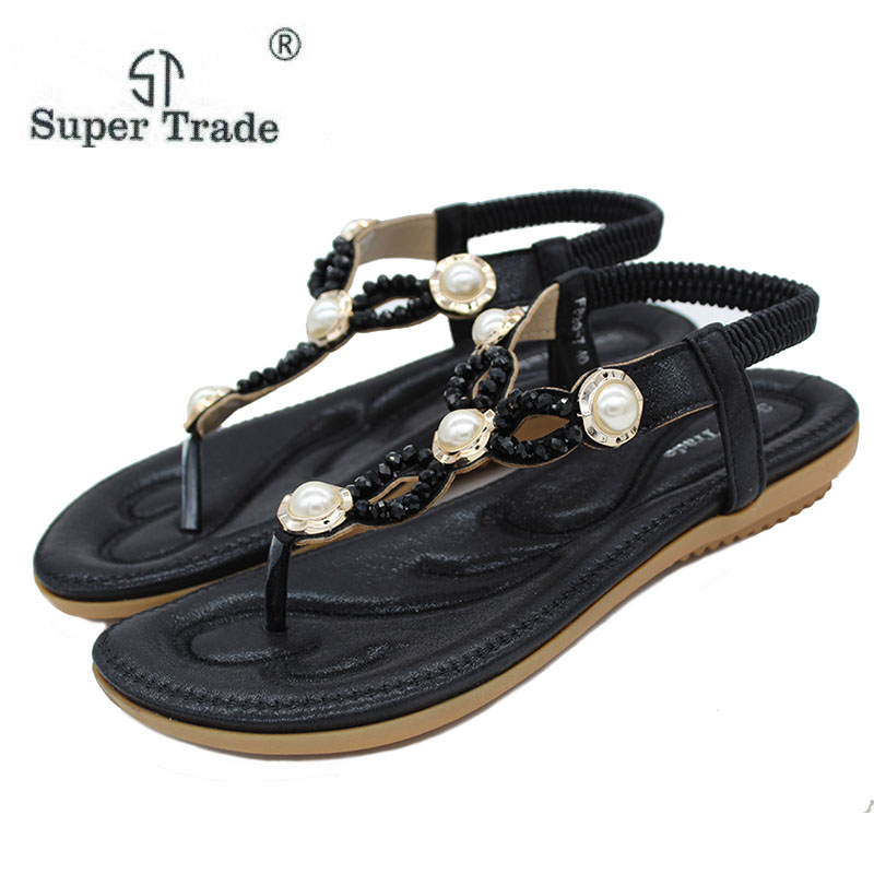 8b0b62253be09 Click here to Buy Now!! New Style Ladies Sandals Diamond Pearl Decorative Sandals  Flats Shoes For Ladies Plus Size 35-42 Summer Sandals Women Shoes 20-7