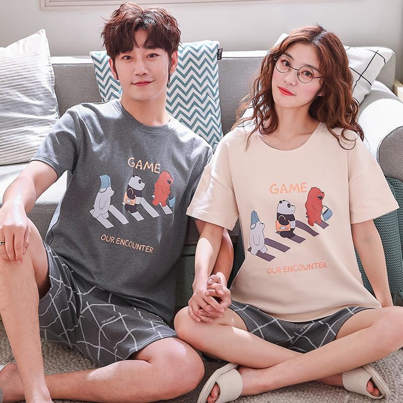Pajamas For Couples Summer Cotton Short-sleeved Shorts Set Sleepwear For Men Student Loose Lounge Wear For Men Homewear Big Size