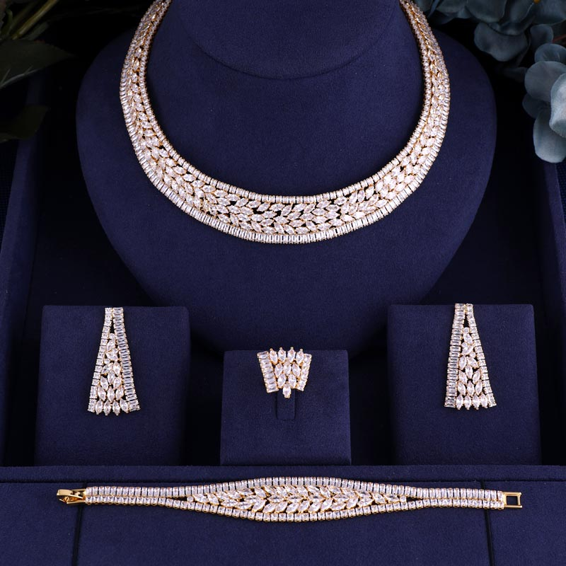 Bridal-Jewelry-Sets Wedding-Party-Accessories Jankelly-Hotsale African Women New-Fashion