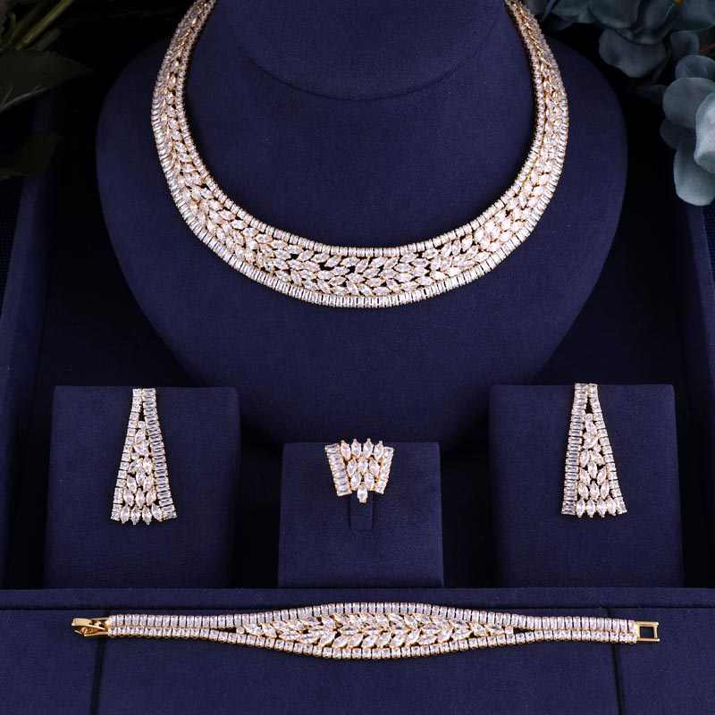 jankelly  Hotsale African 4pcs Bridal Jewelry Sets New Fashion Dubai Jewelry Set For Women Wedding Party Accessories Design