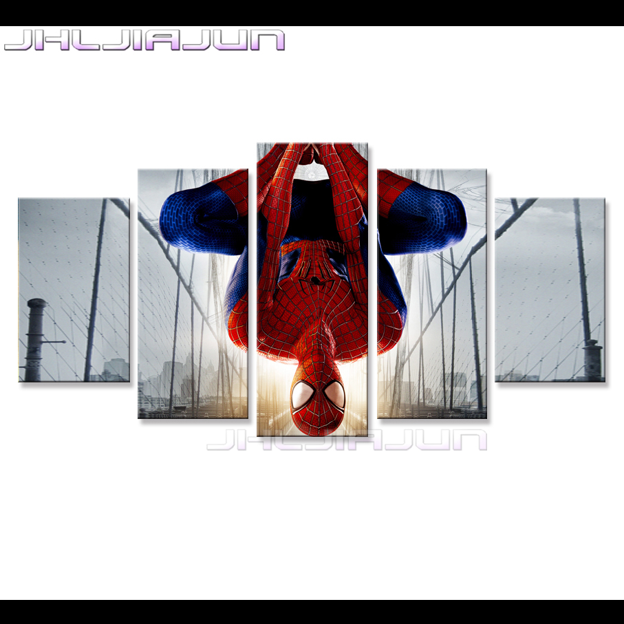 compare prices on spiderman hd online shopping buy low price spiderman modular picture modern frame child room decor nordic 5 pieces canvas home decoration movie poster