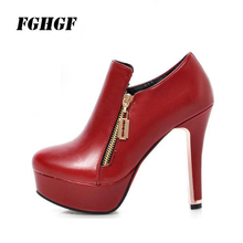 FGHGF Solid High Heel Boots Autumn Winter Female Fashion Noble Atmosphere Upper Grade Thin Heels Round Toe