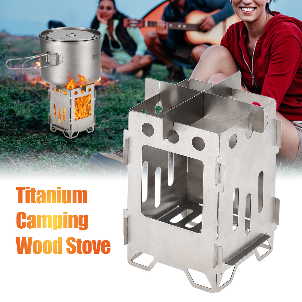 Image 5 - Titanium Folding Camping Stove Ultralight Outdoor Wood Burning Backpacking Cooking Stove Camping Gas Burner-in Outdoor Stoves from Sports & Entertainment