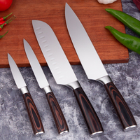 Kitchen Knife 4pcs Japanese Knives Set High Carbon Forged Chef Santoku knife 7CR17 Steel Mirror Polishing with Wooden handle