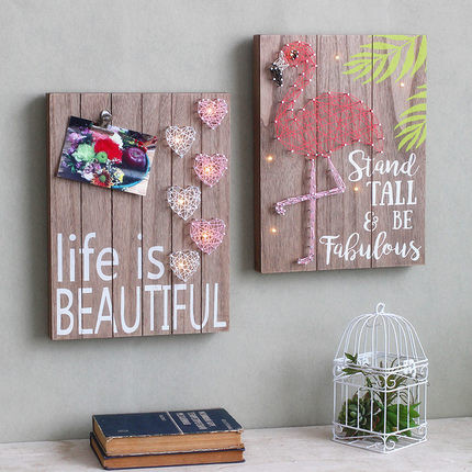American Style Wooden Plaques The Flamingo Bulb Painting Vintage ...