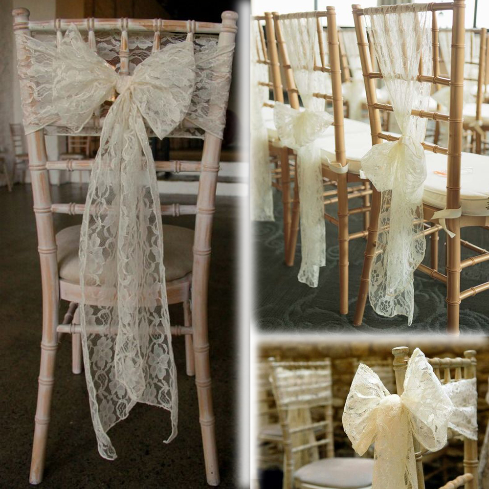 100pcs Top Quality Ivory Lace Chair Sash For Wedding Event Party