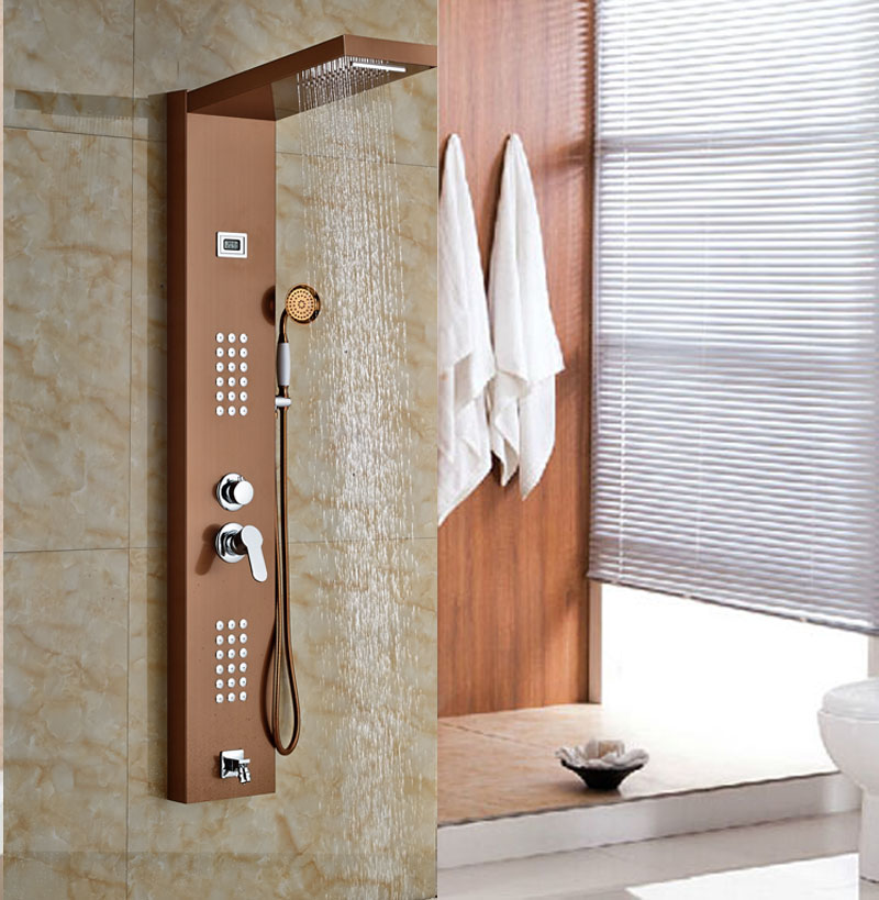 Rainfall&Waterfall Bath Shower Panel Wall Mounted Message Shower Set ...