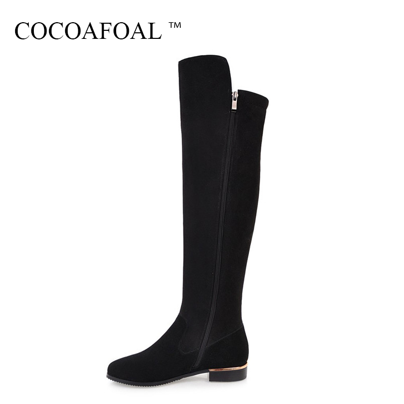COCOAFOAL Women's Zipper Flat With Knee High Boots Sexy Plus Size 33 41 High Heeled Shoes Autumn Winter Black Knee High Boots 20cm pole dancing sexy ultra high knee high boots with pure color sexy dancer high heeled lap dancing shoes