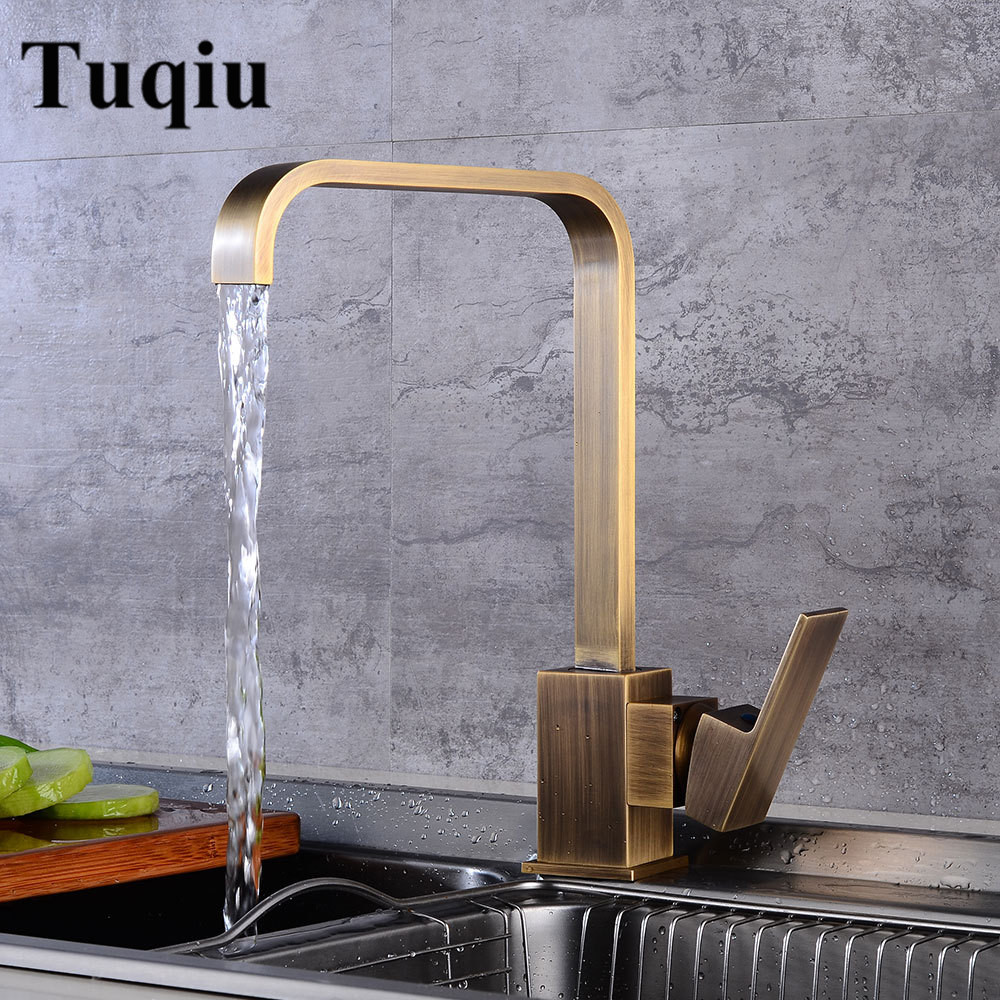 Rotating brass kitchen faucets hot & cold water torneiras cozinha chrome/antique/black Oil Brushed Square Sink taps mixers