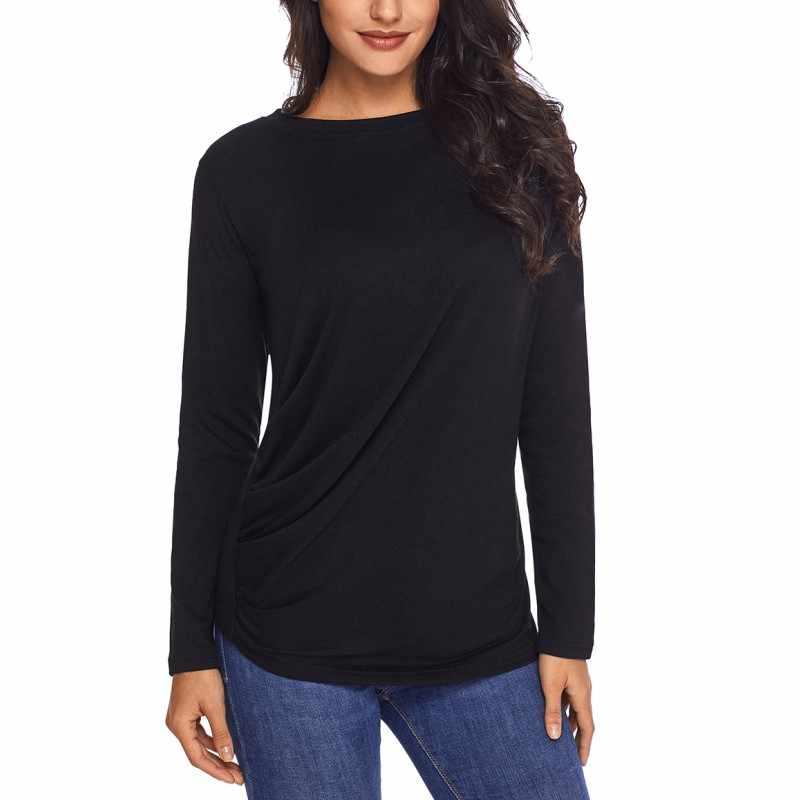 813a1e9a076d37 Draped Round Neck Sweatshirt for Women Coffee Lilac Blue Black Autumn Tops  Long Sleeve T Shirt