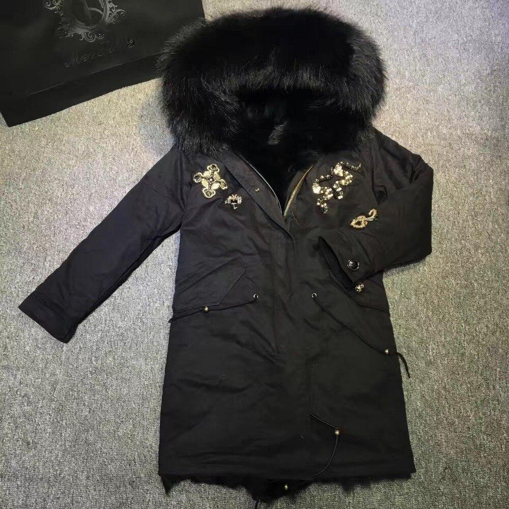 2017 Black Beads fox fur parka for ladies wear in winter, black fox fur hoodies with fully fur lined mrs or mr favourite wear