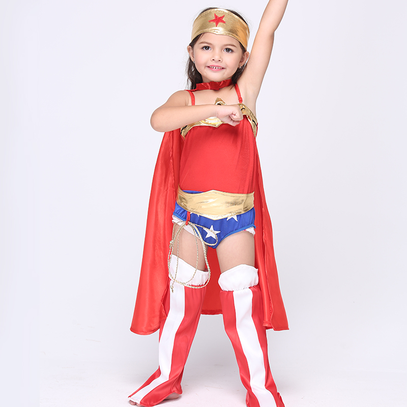 Halloween Cos Wonder Woman Children Party Cosplay Costumes Girls Clothes Children's Clothing Set Party Dress