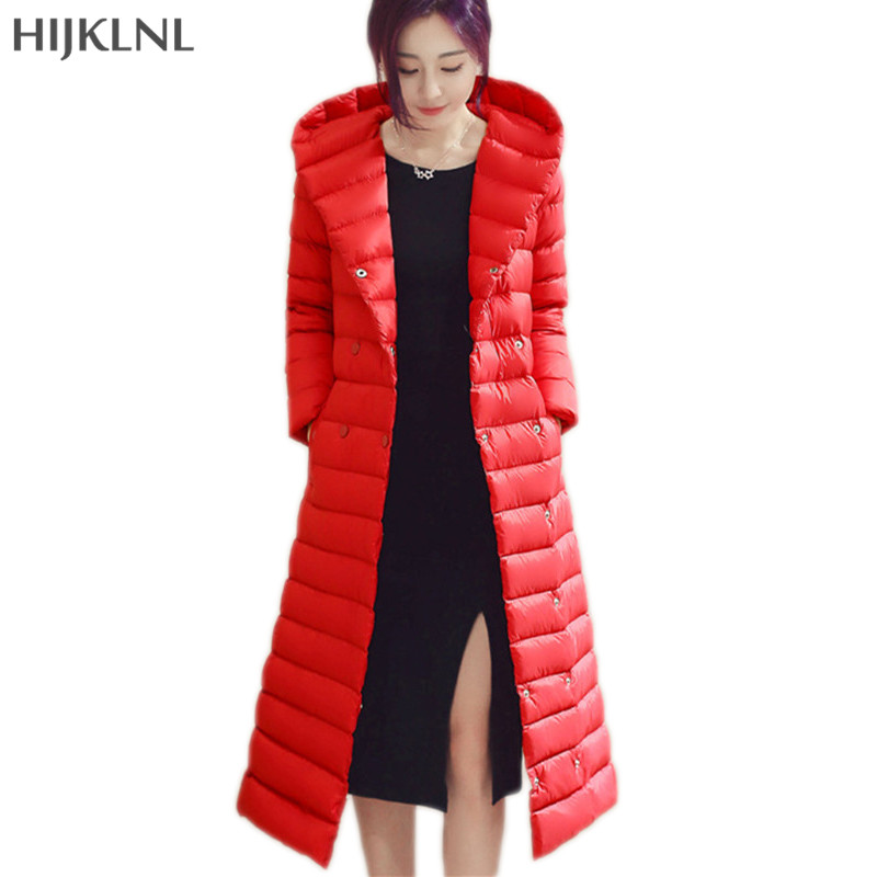 HIJKLNL Long   Down   Jacket 2019 New Plus Size Hooded Ultra Thin   Down   Jacket Women Winter Duck   Down     Coat   Female Overcoat LH1269