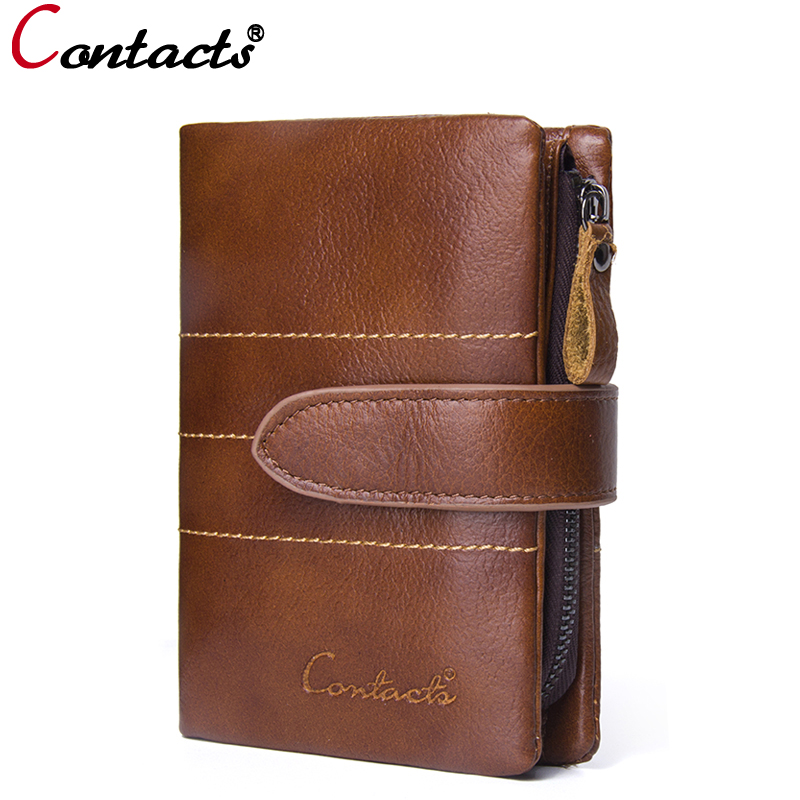 CONTACT'S Men wallets Hasp Zipper Genuine Leather Wallets Men Fashion Coin Purse Card Holder small wallet Organizer clutch male