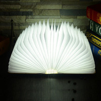 Wood Turning Books Nightlight USB Rechargeable LED Folding Lamp Book Creative Led Book Light With 3