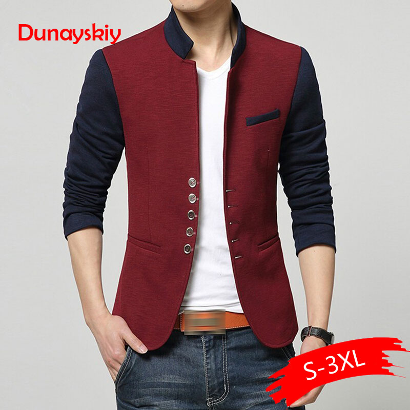 Plus Size Blazer Men Chinese Collar Suit Mens Autumn Blazer Hommes Casual Jacket Fashion Patchwork Brand Clothing Veste Homme