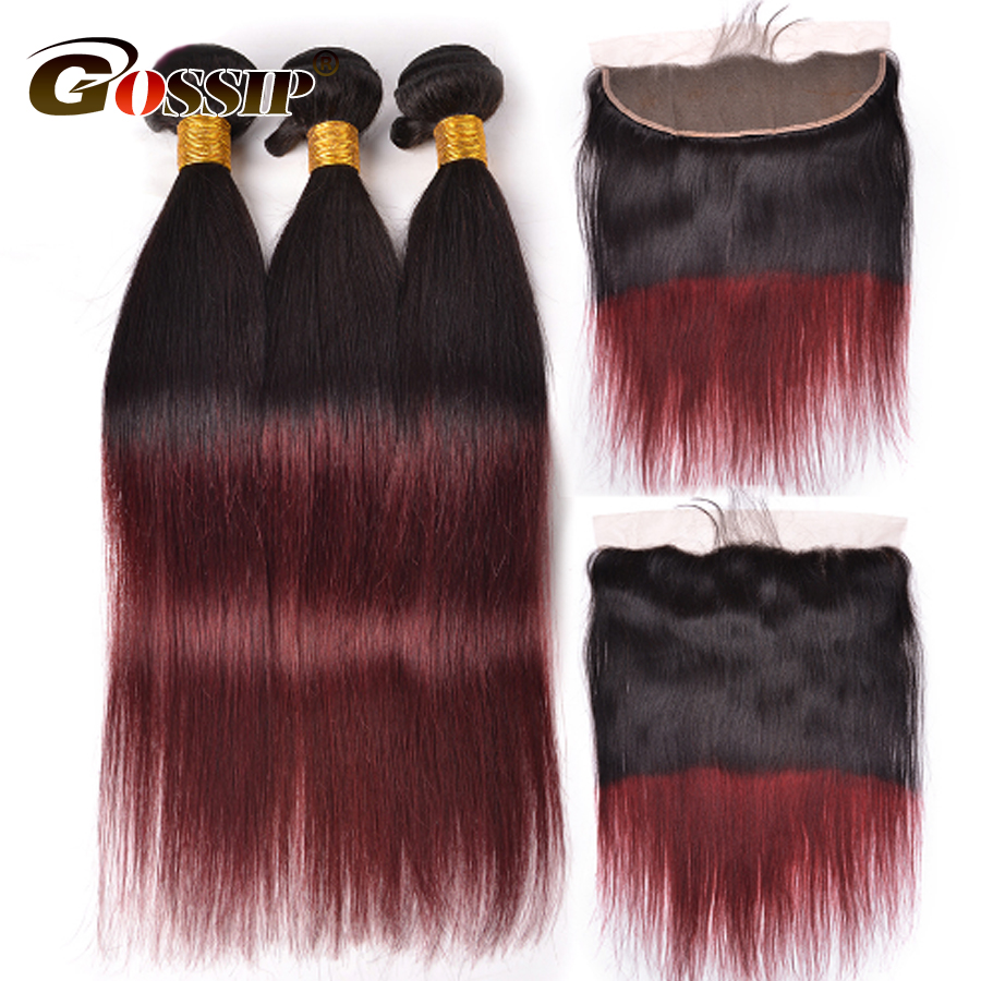 T1B/Burgundy Ombre Human Hair Bundles With Closure Ear To Ear 13*4 Cosure Gossip Brazilian Straight hair Ombre 99J Red Non Remy