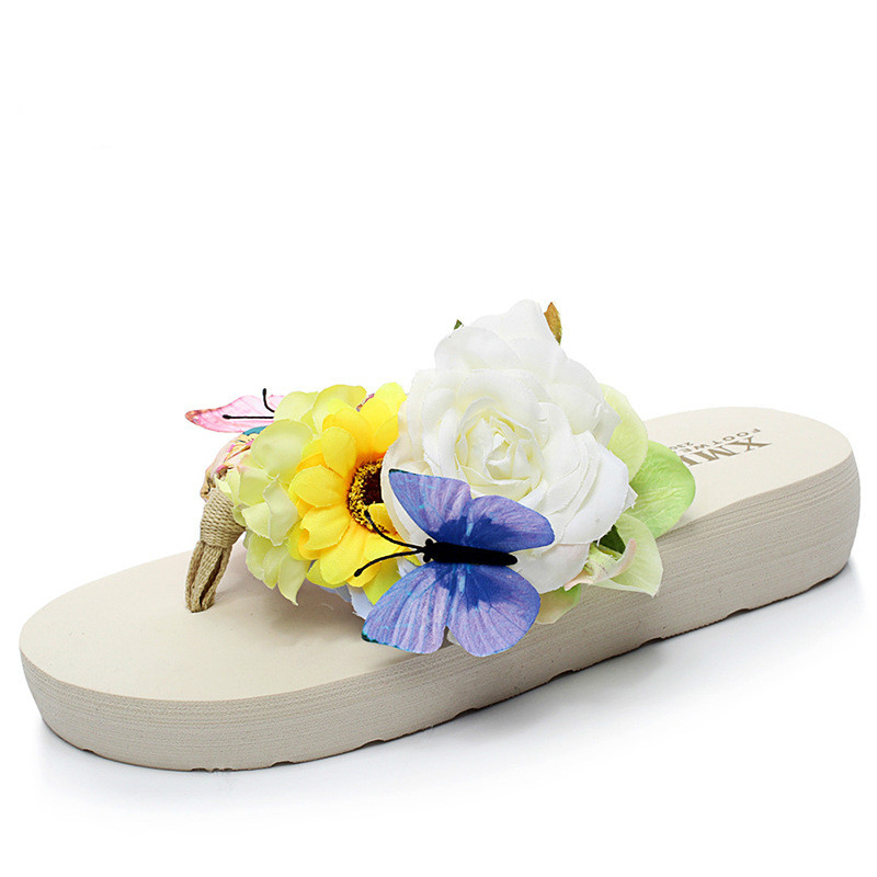 Summer Shoes Woman Slippers Flat Bohemia Flower Soft Lady Flip Flops Womens Zapatos Mujer Ladies Slip on Sliders Beach Slippers in Flip Flops from Shoes