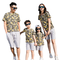 New Summer family mother daughter father son sets Family Matching Outfits cotton flower T shirt + Gray Pants