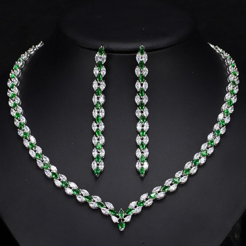 Mode zircon cubique collier et boucles d'oreilles dames ensembles de bijoux pour mariage