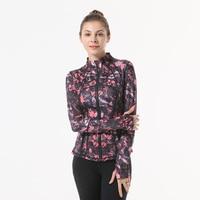 2018 Women Print Zipper Sport Jacket Fitness Yoga Jacket Running Coat Sport Jacket Gym Clothing Long Sleeve Sports Sweatershirt