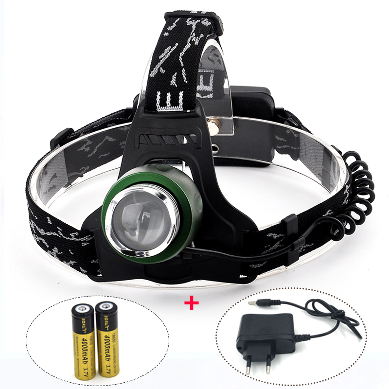 Portable Lighting Headlamps XM-L T6 LED Rechargeable Flashlight 2000LM Waterproof Head Lamp with Charger and 2*18650 Batteries