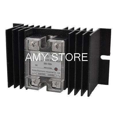 цена на DC 3-32V to AC 24-480V Solid State Relay SSR 90A w Black Aluminum Heat Sink