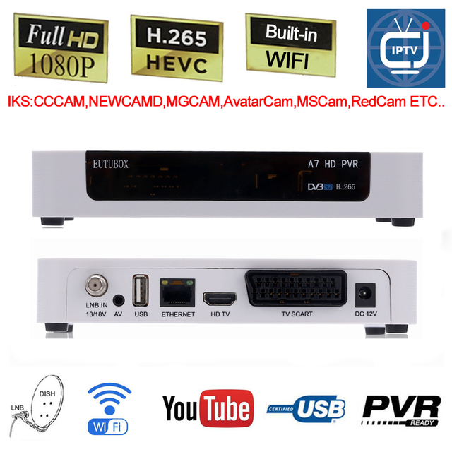 EUTUBOX A7 DVB S2 Digital Satellite receiver box Built-in WIFI Full HD PVR Support 3G H.265 AVS+ HEVC IPTV Youtube Cccam Newcamd