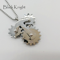 2018 S S New Mens 3 Toothed Wheels Gear Pendant Necklace Mens Mechanical Personal Gear Stainless