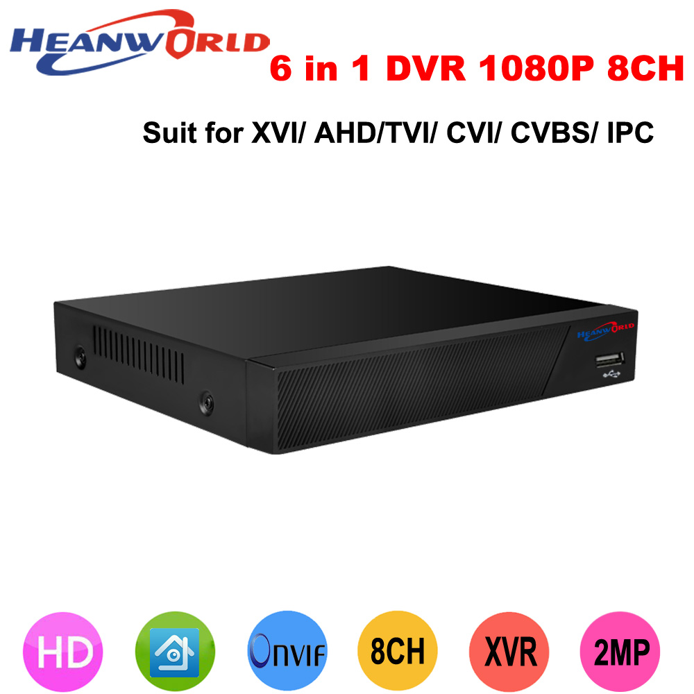 Heanworld 6 in 1 DVR 8CH 1080P CCTV DVR recorder 8 Channel 1080P NVR DVR TVI CVI HVR Support For 2.0MP AHD Camera jienu 8ch cctv avr nvr dvr hvr support connection ahd cctv ip camera 1080p 1080n 8 channel