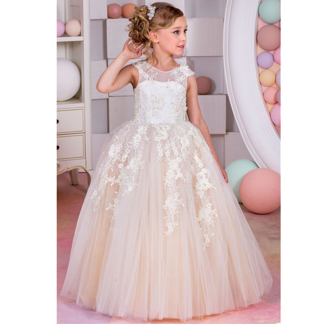 a15ddc60ad7 US $86.39 |Princess White/Ivory/Champagne Lace Ball Gown Long Flower Girl  Dresses Girls First Communion Birthday Dress vestido de daminha-in Flower  ...