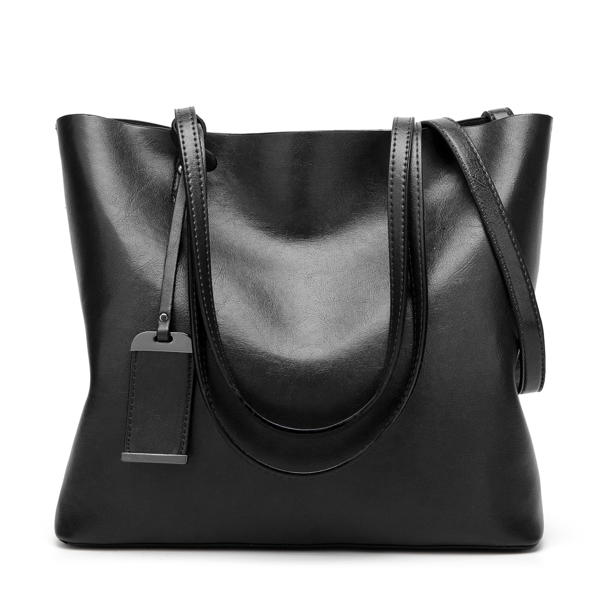 New Fashion PU Leather Women Handbag Messenger Bags Solid Color Casual Tote Oil Wax Leather Shoulder Black Bag Crossbody Bag new 2016 fashion women handbag pu leather shoulder bags woman fashion trends metal logo messenger shoulder bag ft56